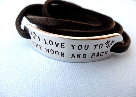 Personalized Bracelet - I Love You To The Moon And Back - Leather Wrap