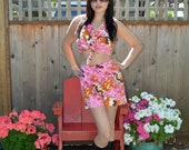 Psychedelic  Vintage Tie Top Hot Pants Set Vintage 60s 70s M Pink Abstract