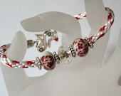 Kumihimo Braided Red and White Beaded Bracelet