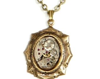 Steampunk Art Deco Lolita Antiqued Brass Gold Necklace with Vintage Watch by Velvet Mechanism