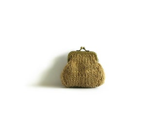 Cute Coin Purse, Ochre, Coin Purse, Money Holder, Kiss Lock Coin Purse, Clasp Coin Purse, Change Purse, Wool Coin Purse, Gifts Under 20