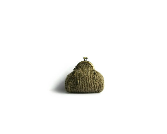 Brown Cotton, Small Coin Purse, Coin Purse Keychain, Womens Accessories, Clasp Coin Purse, Knitted Coin Purse, Change Purse, Cute Coin Purse