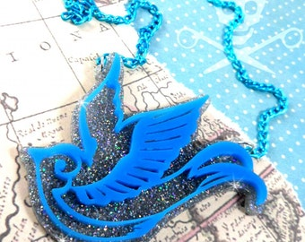 TATTOO STYLE SPARROW - Double Layered Sparrow Necklace in Turquoise and Snowflake
