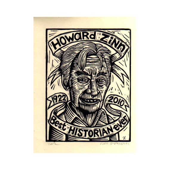 Howard Zinn Print, Linocut Print of Howard Zinn, Art Print, Wall Art
