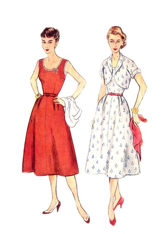 1950s Plus Size Dress & Short Jacket - Simplicity 4306 - Sleeveless / Scoop Neckline - Vintage Sewing Pattern - Size 20 / Bust 38