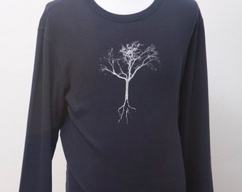 Men's Shirt / Upcycled Gap Henly with Screen Printed Tree / Size Large