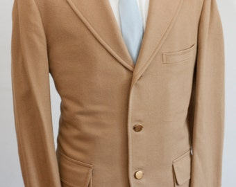 Men's Wool Blazer / Vintage Jacket with Brass Buttons /  Size 42 Medium-Large