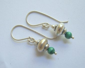 green Malachite beads with sterling silver earrings