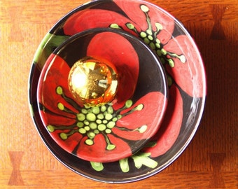 Nesting Bowls READY to SHIP Red Poppy Set of Two Off Center Bowls Medium & Small Ceramic Bowls Pottery Bowls Wedding Gift for Bride RP