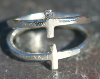 Two Cross Ring, Pinky Ring, Double Cross Ring, US Size 3 Ring, Silver Ring, Faith Jewelry, Christian Cross Ring by Maggie McMane Designs