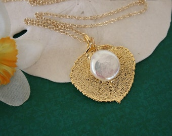 Apsen Leaf Necklace, Leaf and Pearl Necklace, Real Leaf Necklace, Gold Aspen Leaf