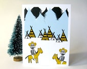 Funny Greeting card, Weird card, Party invitation, Birthday card, Blank greeting card, Greeting card - Cowboys and Indians