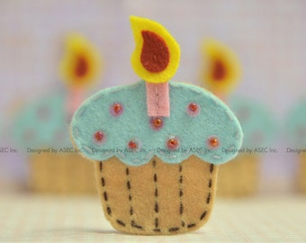 Set of 6pcs handmade felt cupcake--sable/blue (FT953)