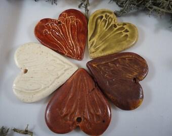 5 Textured Heart Clay Pendants