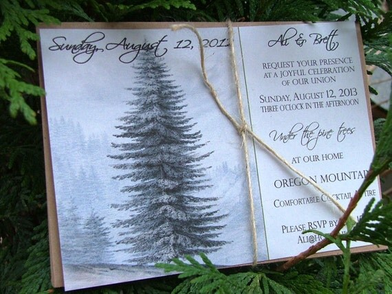 Yosemite Wedding Invitations: Rustic Wedding Invitations: Natural Wedding Grand Pine