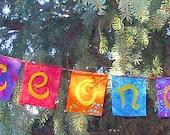 Peace on Earth Flag Garland Rainbow Colors Batik Boho Gypsy Hippie