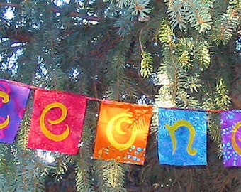Peace on Earth Flag Garland Rainbow Colors Batik Boho Gypsy Hippie