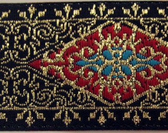 3  yards ELINOR Jacquard trim in red, turquoise, metallic gold on black. 1 inch wide. 942-A