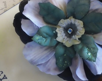 Moira- black and periwinkle gothic lolita pin-up winter inspired hair flower