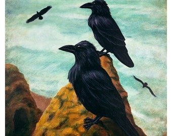 Raven Beach Painting Reproduction - The Sentinels