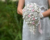 Blush cascading brooch wedding bouquet -- deposit on made to order  brooch wedding bouquet