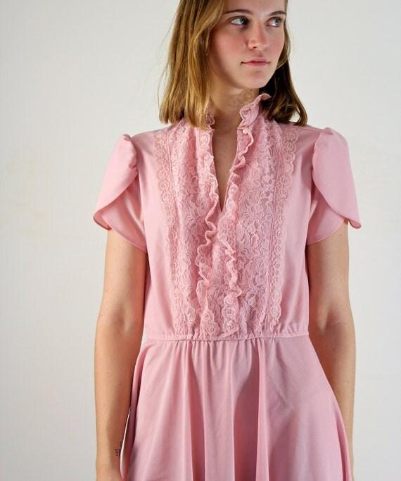 Lace Dress - 1970s Tuxedo Dress