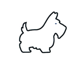 INSTANT Download Scottie dog applique digital embroidery design in 3 sizes