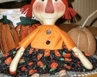 Raggedy Witch EPATTERN -primitive halloween annie cloth doll craft digital download sewing pattern - PDF - 1.99