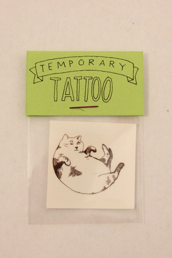 Fat cat temporary tattoo by chloecwilson on etsy for Fat cats tattoos