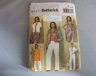 Butterick 5471  Lifestyle Wardrobe- Jacket, Dress, top, pants  Sewing Pattern
