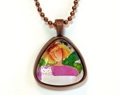 Cat Lady and White Kitty Glass Pendant SALE/ in Copper Setting