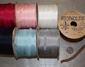 """Vintage French 100% Silk 1/4""""  & 3/16"""" Ribbons, 4 yards in your choice of colour RF007"""