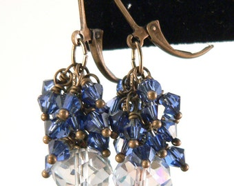Gemstone Earrings, Blue Quartz Earrings, Swarovski Blue Crystal Cluster, Statement Earrings, Wedding Earrings, Drop & Dangle