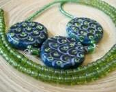 Green Beaded Statement Necklace Rustic Earthy Bohemian Jewelry Artisan Handmade Jewelry Design California USA Handcrafted