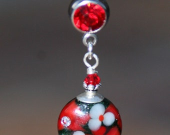 Pretty Floral Lampwork Glass DeSIGNeR Belly Button Ring Red White Bling Poinsettia Christmas Flower