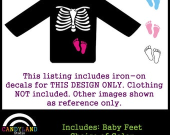 DIY Iron on for Pregnant Skeleton Maternity Shirt  with Baby Feet
