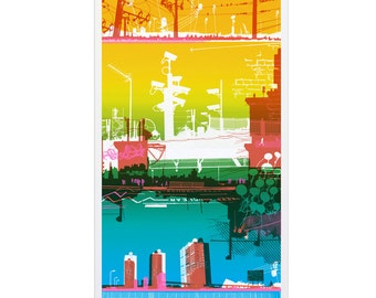 Screen print called Sky Street. Limited edition hand made artwork. city - cityscape - urban - buildings