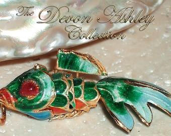 Emerald Green Cloisonne Goldfish Pendant