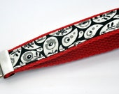 1 inch Red Cotton Webbing with Black, White and Gray Paisley Print
