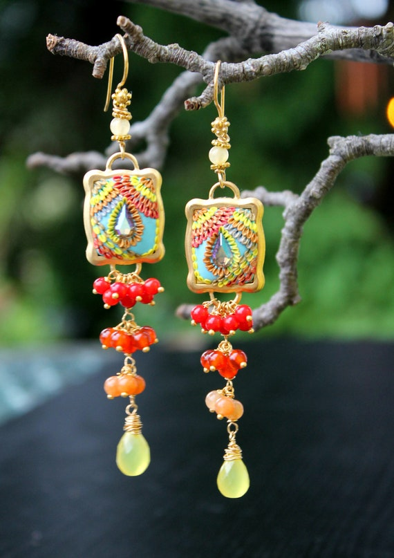 Shades of Red Yellow - carnelian, coral, jade chalcedony gem cluster earrings - A Field of Berries