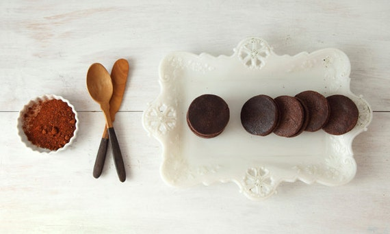 Chocolate Caramel Sandwich Cookies with Chipotle and Sea Salt