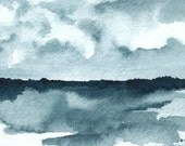 Landscape Watercolor Painting - Archival print - Superior in Indigo, 4 x 6 inches