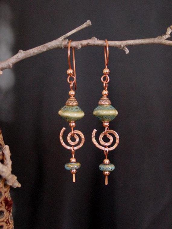 Southwest Spiral Copper Dangle Earrings CE-01