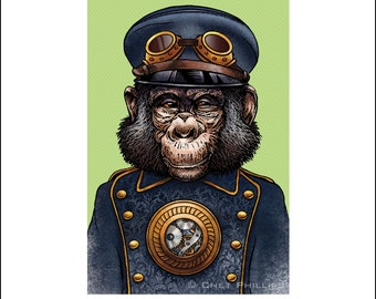 "Henrich Waddlerot 8"" x 10"" Steampunk Monkey Nation Art Print- Whimsical Monkey Wall Decor"