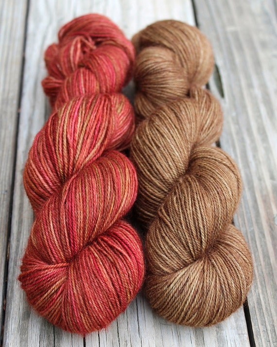 BFL Sock - Autumn Leaves with Brown - Kettle Dyed Yarn