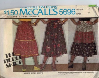 1970s Vintage Sewing Pattern McCalls 5696 Tiered Peasant Prairie Skirt Size 10 Waist 25 1977 70s  99