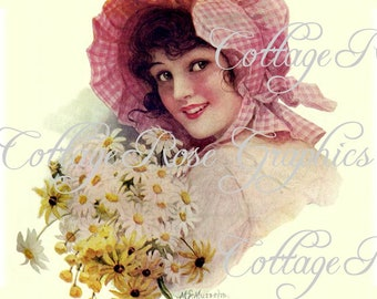 Daisy Sunbonnet Girl LARGE format digital download Buy 3 get one FREE rdtt