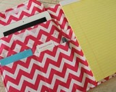 Full Size 7 Pocket Fabric Organizer Portfolio 8.5 x 11 Note Pad iPad Cover Notebook