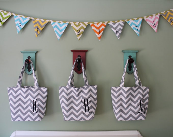 Set of 3 Embroidered Chevron Totes for Wedding Gifts Bridesmaid Thank You