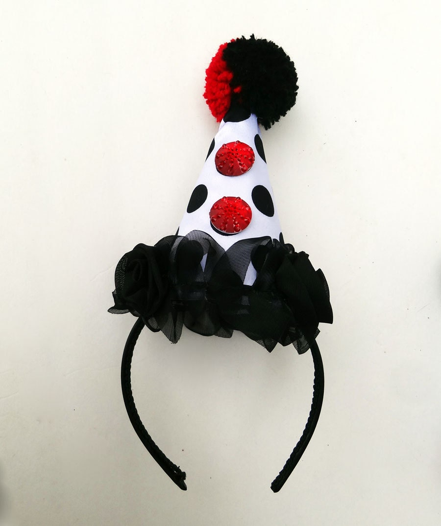 Clown Hat Circus Costume Red Hearts Black And White Polka